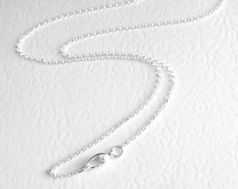 30 inch Necklace Chain, Thin Long Sterling Silver Chain, Disability Jewelry, Round Rolo Links, 76 cm, Self Closing Clasp
