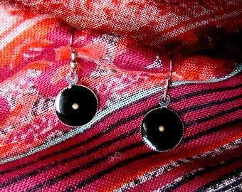 Black Mustard Seed Earrings... Bright Silver Mustard Seed Earrings - Mustard Seed Dangly Earrings - Mustard Seed Jewelry - Faith Jewelry