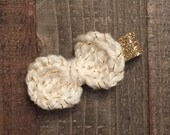 Hand-Crocheted Cream and Gold Bow Hair Clip