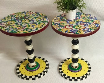 Whimsical Painted Accent Table, Round Painted Side Table, Round Pedestal Table