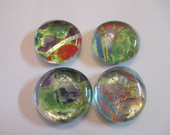 4 Mixed Abstract Handmade Glass Magnets