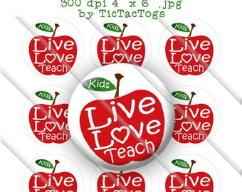 Teacher Saying Apple School Back To School Set Bottle Cap Images 1 Inch Circles BTS Collage 4 x 6 - Instant Download