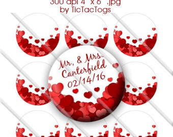 Editable Wedding Bride Groom Love Hearts Bottle Cap Images 1 Inch Circles - Instant Download