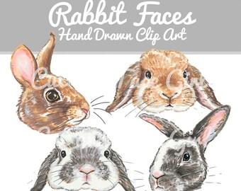 Rabbit Clip Art - Bunny Clipart, Bunny Rabbit, Hand Drawn Clip Art, Craft Supplies, Lop Eared Rabbit, Digital Download