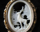 Elk Deer Scene Brooch French Off White Oval Celluloid Plastic Gold Chalet Stone Bridge Vintage Pin Open Work