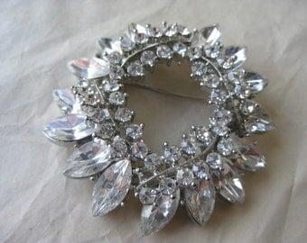 Silver Clear Rhinestone Brooch Vintage Pin