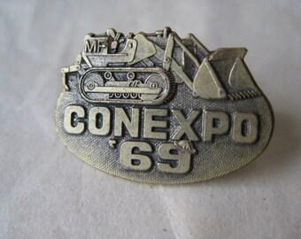 Conexpo Bulldozer 1969 Lapel Pin Gold Tie Tack Brooch Vintage