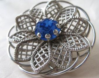 Flower Blue Silver Brooch Filigree Vintage Pin Rhinestone