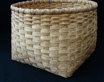 Hand Woven Basket in traditional walnut stain.  Storage basket. Magazine basket. Custom made basket. Basket. Traditional handmade baskets.