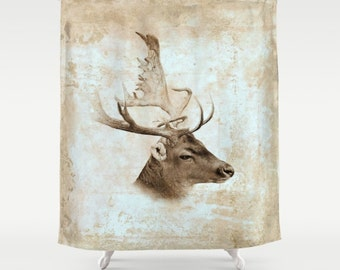 Shower Curtains Art Shower Curtain Bathroom Antique Deer Sepia Home decor digital art L.Dumas