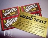 Willy Wonka invitations Wonka Bar & Golden Ticket invitation Willy Wonka birthday party Wonka candy bar wrapper DiY digital PDF editable ReD