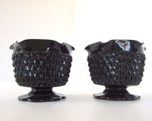 2 1970s Cameo Black DIAMOND POINT Glassware Vintage Candle Holders from Tiara