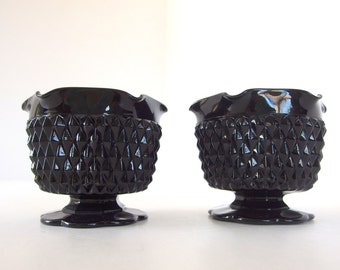 2 Vintage 1970s Cameo Black Diamond Point Glassware Vintage Candle Holders from Tiara