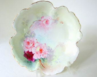Antique Serving Bowl with Hand Painted Roses from RC Sevres