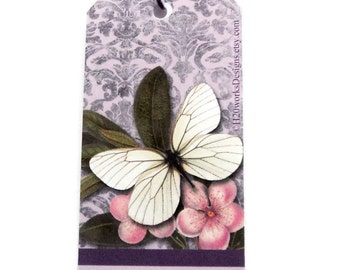 14 Butterfly Gift Tags, Hang Tags, Party Favor Tags, Purple Lavender