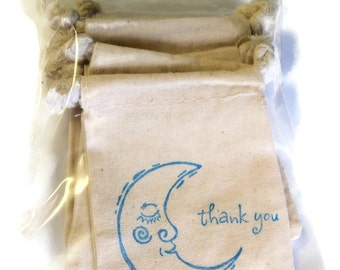 6 Muslin Bags, Blue Thank You Man in the Moon, Gift Bags, Packaging, 3x4 Inches, Hand Stamped, Party Favor Bags
