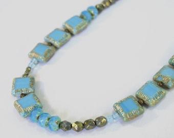 sky blue Czech glass long necklace by CURRICULUM
