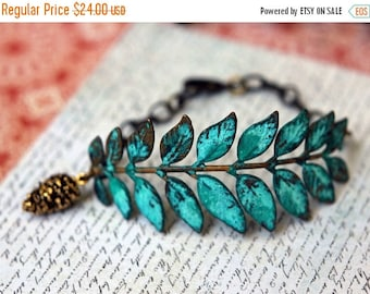 October Sale Verdigris Leaf Bracelet, Turquoise Patina on Antiqued Brass Leaf Stamping, Pine Cone Charm, Rustic Fall Fashion