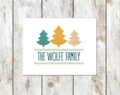 Christmas Tree Folded Cards - Holiday Thank You Notes - Personalized Folded Winter Cards - Set of 12 - Free Shipping