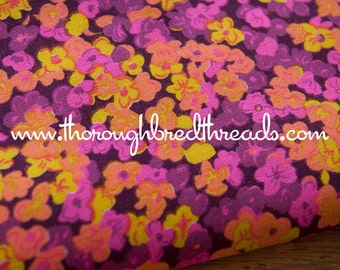 Colorful Floral - Vintage Fabric Mod 60s 70s Novelty Groovy Daisies New Old Stock Pink Purple Yellow Orange