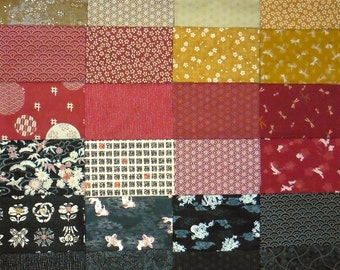 Japanese cotton prints - 24 red, gold and black fat eighths