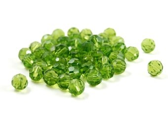 50 Pieces of Dark Green Czech Glass Fire Polished Faceted Beads - 8mm