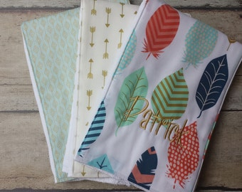 Monogrammed Burp Cloths, Personalized Burp Cloths, Baby Gift Gift Set of 3,  Baby Shower Gift, Aqua, Gold, Feathers, Arrows