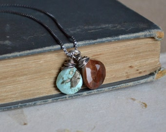 Petrified Wood Persian Turquoise Necklace Sterling Silver