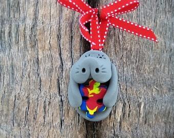 Autism Awareness Manatee Ornament