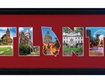 Atlanta Custom photo collage with GA State clipart. (mat only)