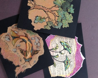 Art Cards with Ink and Colored Pencil Drawings of  Fish, Tree, and Flower