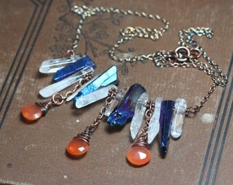 Fire and Ice Necklace Quartz Crystal Necklace Gemstone Fringe Antiqued Copper Rustic Jewelry Briolette Stone