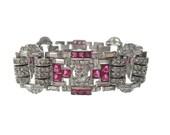 Antique Art Deco Ruby Bracelet, Fine Vintage 1920s Statement Cuff, Ruby Designer Art Deco Bridal Wedding Jewelry