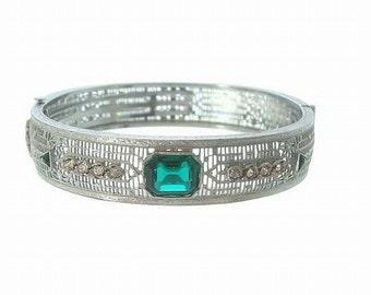 Emerald Art Deco Vintage Bangle, Antique Filigree Bracelet, Rhinestone Cuff, 1920s Fine Designer Art Deco Jewelry, Wedding Jewelry