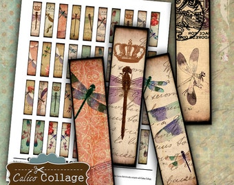 Dragonflies Digital Collage Sheet .5x2 Half Domino Images for Earrings Pendant Images Printable Images Collage Sheets Decoupage Paper