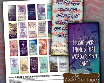 Music Quotes - 1x2 inch Digital Collage Sheet inspirational Printable Download for 1x2 inch domino pendants bezel trays magnets scrapbooking