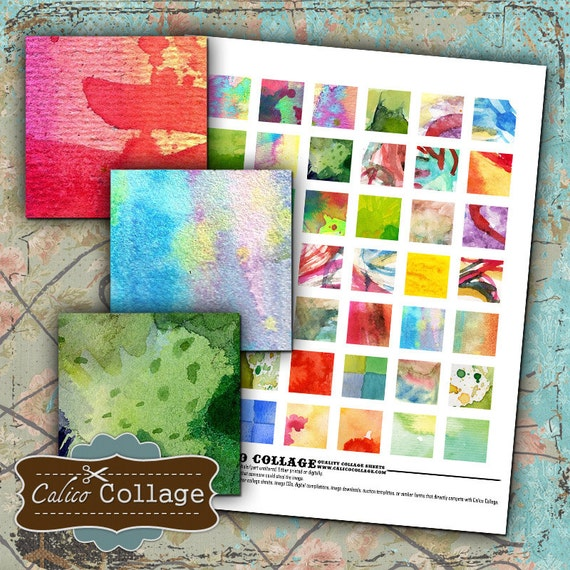 Watercolors Collage Sheet Printabes for your Jewelry Pendants Earrings Bracelets Magnets Calico Collage Digital Sheet Printables