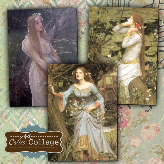 Ophelia ATC Size Digital Collage Sheet Printable for Mini Cards, Gift Tags, Greeting Cards, Decoupage, Altered Art, Mixed Media Paper Crafts