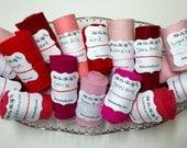 Wool Felt Rolls, Set of Three, Pink Felt, Red, Fabric Remnants, DIY Crowns, Felt Flowers, Felt Ribbon, 18 Inch Roll, Applique, Wool Scraps