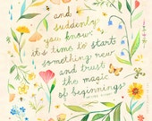 Magic of Beginnings art print | Botanical watercolor painting | Floral Wreath | Watercolor Quote | Katie Daisy | 8x10 | 11x14