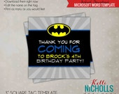 Batman Children's Birthday Party Favor Tag Template - Instant Download #B105
