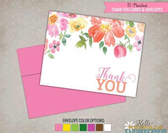 Watercolor Floral Bridal Shower Thank You Cards, Folding Wedding Shower Thank You Notes #S111