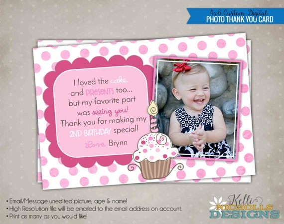 Pinkalicious Inspired Photo Thank You Card, Cupcake Birthday Party Thank You Note #B101