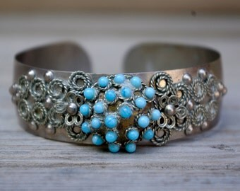 Vintage Silver Tone and Turqoise Cuff Bracelet