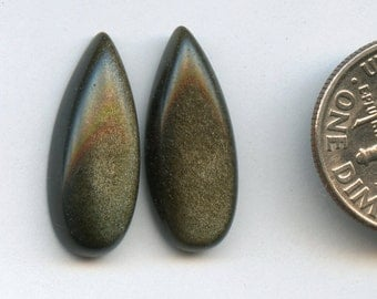 GOLDEN SHEEN OBSIDIAN One Pair 8x20mm Pear Drop Cabochons   A+ Grade