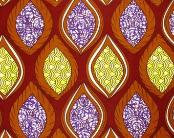 African Fabric 1/2 Yard Wax Cotton BURGUNDY YELLOW PURPLE Golden Brown Abstract