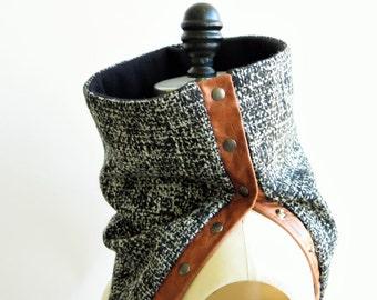 Cowl, scarf Italian charcoal wool