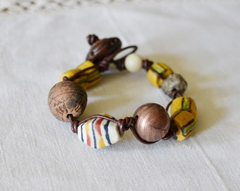Antique African Trade and Stone Bead Bracelet  Large Size