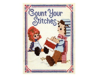 1970s Cute Cross Stitch Patterns Holly Hobbie Style Christmas Children Doll Sweet Kawaii Count Your Stitches Picture Embroidery Patterns