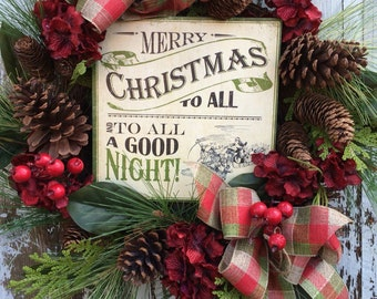 Christmas Wreath, Merry Christmas Wreath, Wreath for Door, Res Christmas Wreath, Winter Wreath